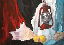 Vintage gouache painting still life with shellfish and lamp