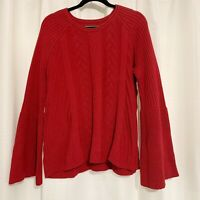 Michael Stars Size Large Womens Red Cable Knit Sweater Bell Sleeve