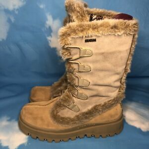 Skechers Women's Frolic Suede Leather Outdoor Winter Boots Tan Sz 8 #45708