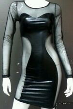 Little black leather long sleeve mesh panel dress size small