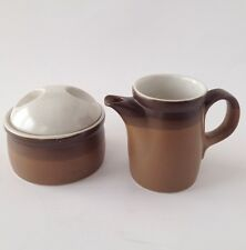 Mikasa Potters Art Ben Seibel Sugar Bowl Creamer Pottery Buckskin Brown Vtg