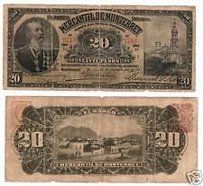 Mexico $ 20 Pesos Banco Mercantil de Monterrey  S-354