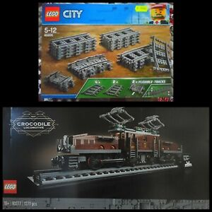 LEGO LOTTO LOCOMOTIVA COCCODRILLO 10277+BINARI 60205  2 SET NUOVI MISB