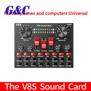 V8S Audio Bluetooth USB Headset Mic K Song Stereo Live Broadcast Sound Card