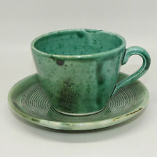 Australian Pottery | AM Boyd cup and saucer with Green Glaze