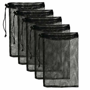 Mesh Stuff Sack Durable Nylon Drawstring Laundry Bag Rinsing Beach Toys TraY^lk