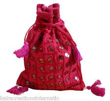 Indian Womens Shoulder Cotton Bag Mirrorwork Design Handbag Pink Jewellery Bag