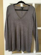 EILEEN FISHER  Shimmer Bronze V Neck Rayon Sweater Size 1X