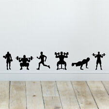 x6 Gym Workout Wall Sticker Silhouettes Vinyl Decals