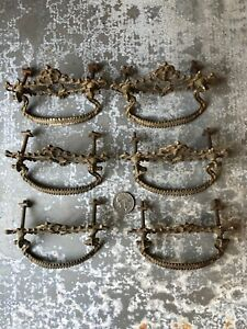Lot of 6 matching Ornate Fancy Victorian cast brass tone/steel Drawer Pulls old