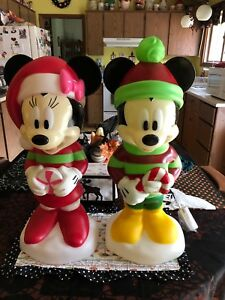 Disney Mickey and Minnie Christmas Lighted Blow Mold Set NewToo Cute!