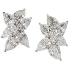 Classic Diamond Cluster Earring 12 F VS  pear shaped diamonds weighing 9.65 ct