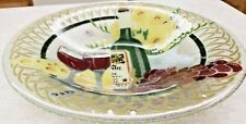 """Peggy Karr Bowl Wine Cheese Grapes Flowers Made USA 13 1/4"""""""