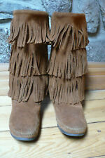 MINNETONKA, LADIES SZ 9,  BROWN SUEDE, 3-LAYER FRINGE, MOCCASIN BOOT, #1632