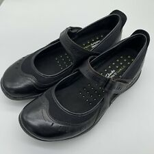WOMEN'S CLARKS WAVE WALK MARY JANE SHOE BLACK LEATHER SIZE 9M EXC COND!