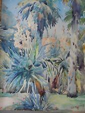 Sufragista artista Lily F. Waring WC Cannes Jardín con yucas c1920 puesto en venta.