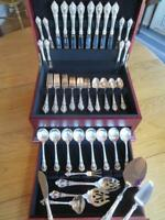 PERFECT LUNT ELOQUENCE STERLING SILVER FLATWARE SET*S-8+SERVERS+CHEST*55P*MINT**