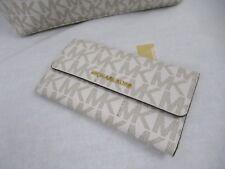 Michael Kors Jet Set Travel Signature PVC Large Trifold Wallet Vanilla/acorn