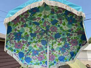 Rare Vintage Turquoise 7' Floral Patio Umbrella Hand Crank Tilt w/ Lower Pole