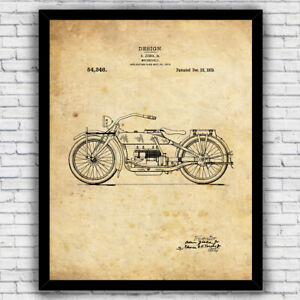 Harley Davidson 1919 Motorcycle Design Patent Wall Art - Size and Frame Options