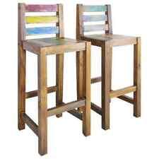 vidaXL 2x Solid Reclaimed Boat Wood Bar Stools 40x40x106cm Kitchen Chair Seat