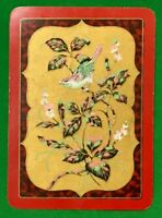 Playing Cards 1 Single Card Old Antique Wide Lacquer Style BIRD FLOWERS Flower 1