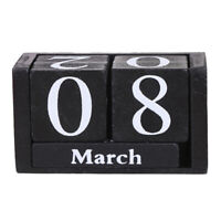 Wooden Calendar Desktop Block Planner Date Display Home Office Decor Cubes