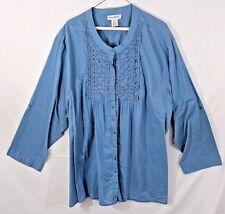 ULLA POPKEN long sleeve button front cotton tunic- women's plus size 5X 32/34