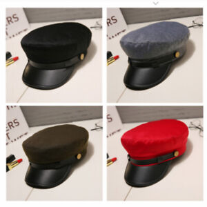 Men Military Baker Boy Hat Flat Top Newsboy Cap Faux Leather Black Chauffeur Hat