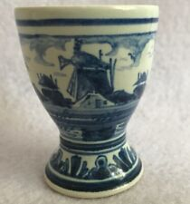 Blue Delft Egg Cup Windmill Holland Signed Vintage Collectible Village Scene