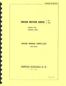 Nikon F-36, F-250 Motor Drive Repair Manual & Parts List Reprint for Nikon F