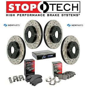 For BMW E60 Front Rear StopTech Drilled Slotted Brake Rotors Metallic Pads Kit