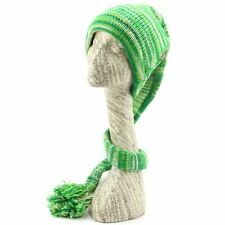 Hat Tail Knit Beanie Slouch Festival Wool Fleece Lined Hippy New Green Space Dye
