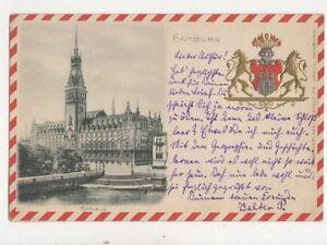 Hamburg Rathaus Germany 1900 Embossed Wappen Postcard 793a