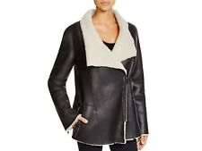 DKNY Pure Black Leather Shearling Lined Jacket Size Petite Small NWOT $2500