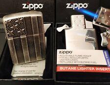 Zippo US Flag (USA, Flagge) Antik Silber + Zippo Gaseinsatz/Butane Single Torch