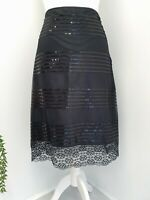 M&S Autograph Ladies Skirt UK 12 Black Lace & Sequin Evening Stunning Quality