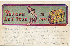 B8808 1908 POSTCARD LOVE ROMANCE  COMIC HUMOUR A/S  PUT SHOES IN MY TRUNK