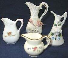 Lot of 4 Vintage Mini Miniature Collectible Floral Porcelain Pitchers Ewers