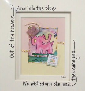 Pink Elephant Mixed Media Watercolor Collage Welcome New Baby Gift Julie Goodin