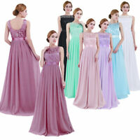 Women Ladies Embroidered Chiffon Wedding Bridesmaid Dress Long Evening Prom Gown