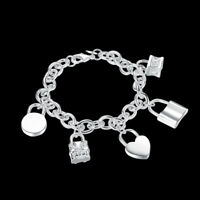 925Sterling Silver Lock Heart Pendant Unisex Accessories Chain Bracelet YH158