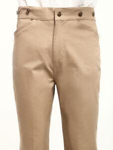 Men's Vintage Costume Victorian pants Khaki high waist Retro Trousers XS~XXL
