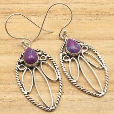 PURPLE COPPER TURQUOISE Fancy Stone Earrings, 925 Silver Plated Jewelry