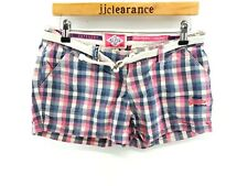 SUPERDRY Womens Shorts S Small W30 L2 Pink Blue White Check Cotton Washbasket