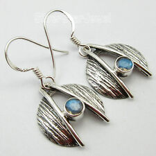 Labradorite Gem Earrings 1 1/4 inches 925 Solid Silver Bohemian Theme Jewelry,