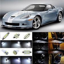 9pcs Xenon White LED Interior Light Package Fit For 2005-2013 Chevy Corvette C6