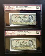 1954  Bank of Canada $20 Bill RE8114965/8114966 BCS Graded AU 58 - No Tax