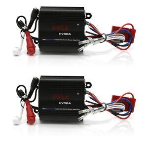 Pyle Waterproof Bluetooth 400 W 2 Channel Marine Power Audio Amplifier (2 Pack)