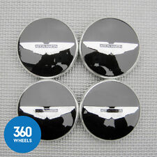 4 NEW GENUINE ASTON MARTIN GLOSS BLACK CENTRE BLACK LOGO CAPS HUB CD33-1A096-B